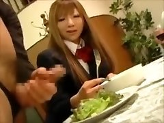 CFNM- Japanese rich dolls torture male gimps at dinner