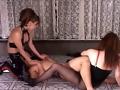 Rough Asian Dommes In Latex Fuck Their Slave