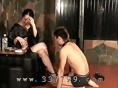 Japanese female dom K of kimono slapping the face of sub