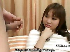 Subtitled Japanese CFNM erection closeup with amateur
