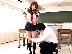 Japanese student facialized in classroom