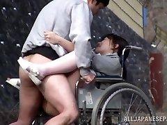 Insatiable Japanese nurse bj's cock in front of a voyeur