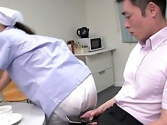 Ultra-cute Japanese maid flashes her big tits while sucking two hard-ons (FMM)