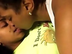 2 Cute Ebony Lesbians Make Out In Bed