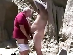 Two mature old gay grandpa toying with each other