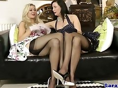 British glamour MILF in lingerie lez joy