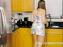 Stepmom COUGAR in Satin Nighty Plowing