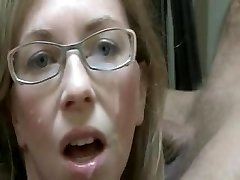 Milf Fledgling with Glasses Getting a Facial