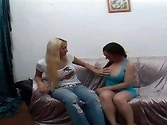 Glorious Blond Tranny Pokes A Latina Babe Really Deep