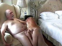 Redhead ladyboy fucking with a elder man