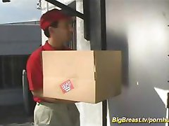Busty blonde calls for delivery and pays him with some hot fucking