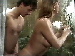 Classic busty porn goddess sucks huge sausage in the shower then humps