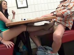 NOT daughter Gives Footjob and BJ under Table WF