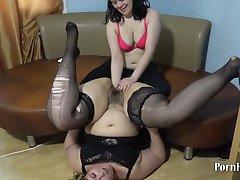Natasha licks and fucks hand, hairy pussy bbw Irene!