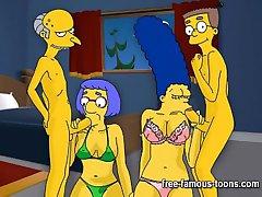 Los Simpsons hentai duro orgía