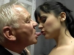 Horny brunette bang two old man