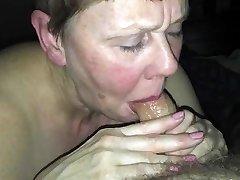 Useless beth H sucks her Sir's cock and drinks