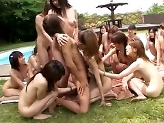 Japanese women' pool side party
