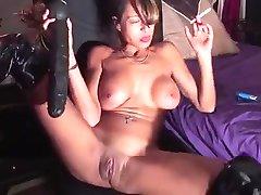 Smoking slut and a big dildo