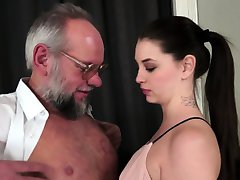 Teenie babe creampied by grandpa