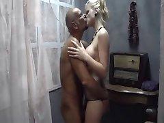 ebony slut and blonde girl fuck older man
