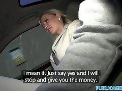 PublicAgent Big tits ash-blonde fucked in car