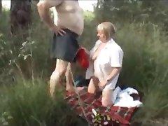 Mature Couple Fuck Outside