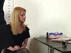 Blonde secretary interviewed