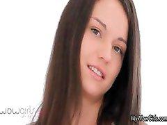 Cute teen brunette loves sucking part1