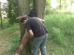 Hot brunette hog tied and fucked in the forest