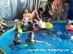 Group sex swinger's pool party with hot sucking and fucking