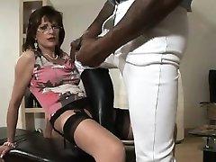 British slut grinds toy and sucks cock