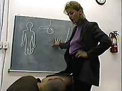 Authoritarian classy teacher gives ballbusting lesson