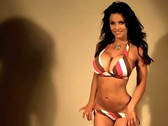 Denise Milani Sexy striped Bikini - non nude