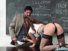 Highheeled schoolgirl spoon fucked in realsex