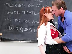 InnocentHigh- Cute Redhead Student Fucks Drama Teacher