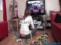 British slut masturbates with video game controllers
