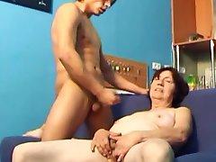Couple Masturbation with Granny 01 (+ slow motion)