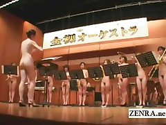 Nudist Japanese AV stars in the stark naked orchestra