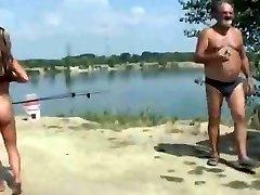Nude Beach - Slutty Exhibitionist Poses for Voyeurs