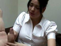 CFNM milf nurse tugs her patient studs hard dick