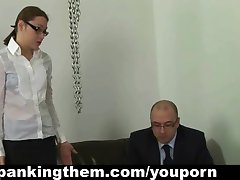 Lazy secretary spanked by boss
