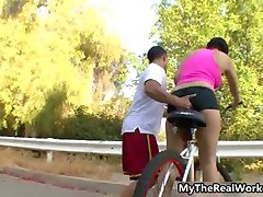 Cycling teen girl gets fucked hard after part3