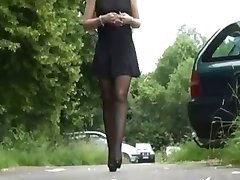 Mini skirt and Stockings