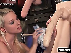 Dildo addict blonde blowing a real hard shaft