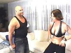 Horny babe wrestles a black cock