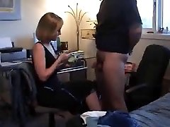 A ball tugging CFNM Hand Job by blonde wifey