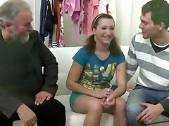 Elder grey-bearded fellow fucks teen girl when her own bf comes and joins