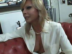 Blonde Italian Shemale Allana fuck on sofa