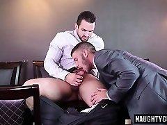 Big dick gay oral-service and spunk flow
